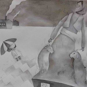 black & white - illustration - esfandiaryart